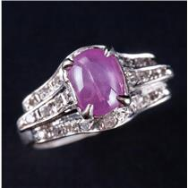 Vintage 1930's 18k White Gold Natural Pink Star Sapphire & Diamond Ring 2.02ctw
