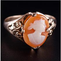 Vintage 1930's 10k Yellow Gold Oval Cameo Cut Shell Female Bust Cameo Ring 1.8g