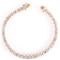 18k Yellow Gold Round Cut Diamond Tennis Bracelet 6.40ctw 15.4g