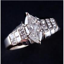 14k White Gold Marquise Cut Diamond Solitaire Engagement Ring W/ Accents 1.18ctw