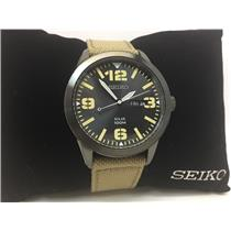 Seiko Watch SNE331 Solar Military Style Black Steel Case Beige Strap.Day/Date
