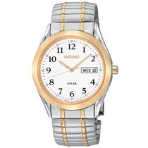 Seiko Watch Mens SNE062 Solar Day/Date All Steel 2 Tone. Ez Adjust Stretch Band.