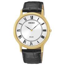 Seiko Watch SUP304. Ladies Elegant EZ Reader.Solar.Black Roman #'s White Dial.