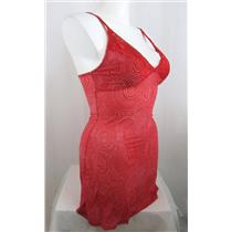DELTA BURKE Size 1X Red Spiral Dot Print Mesh Chemise with Lace Straps