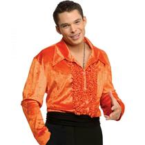 Orange Ruffled Velvet Disco Shirt 70's Medium