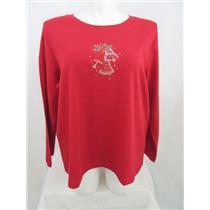 Quacker Factory Size 2X Red w/ Rhinestud Bells Long Sleeve T-Shirt