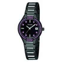 Pulsar Watch PH7291 Ladies Black/Silver Bracelet. Purple Crystals. 50% Off MSRP