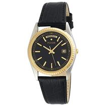 Pulsar Watch PVM012S Mans Day/Date TwoTone Case Black Leather Strap 50% Off MSRP