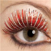 Red and Silver Hologram Fake False Eyelashes and Adhesive set