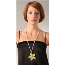 NWT Rachel Leigh Flower Pendant Long Necklace Peridot Yellow Silver Double Chain