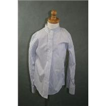 6 Kids NWT Winhaven Riding Horse Show Shirt White Blue Stripes Hook/Loop Collar