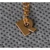 """NEW ONE OF A KIND Brand Initial Necklace """"R"""" 14k Gold Vermeil Name Authentic"""