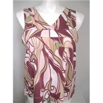 ANA Size 1X V-Neck Sleeveless Top in Mauve Flower