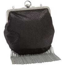 NWT Hobo International Dazzle Black Leather Convertible Kiss Lock Fringe Bag WOW