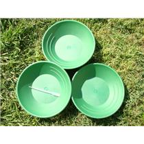 Lot of 3 Green Gold Pans Panning Mining + FREE Snuffer