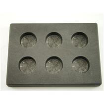 1 oz x 6 Round Gold Bar High Density Graphite Mold 6-Cavities - 1/2 oz Silver