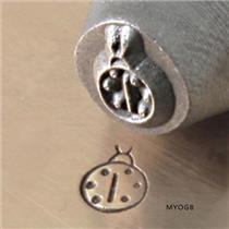 """Garden Lady Bug"" 1/4""-6mm-Large Stamp-Metal-Hardened Steel-Gold & Silver Bars"