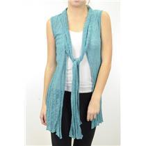 NWT Mechant Aqua Teal Blue Light Knit Belted Tie Waist Sweater Duster Vest