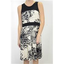 L NWT Weston Wear Cream Black Floral Print Sleeveless Ruched Dress Banded Waist