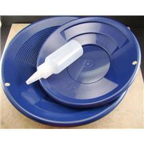 "2 Blue Double Riffle Gold Pans 1-8"" & 1-10"" w/Bottle Snuffer-Panning Kit-Mining"