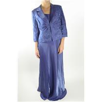 14 NWT Alex Evenings Blue Shine Beaded Evening Dress Formal Blazer Jacket Set