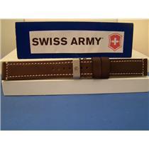 Swiss Army Watch Band Chrono Pro Stitched Brown LeatherStrap w/ Deploy Bkle 21mm