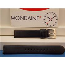 Mondaine Swiss Railways Watch Band FE3116.20Q 16mm wide  Black Leather Strap.
