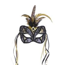 Black and Gold Lace Venetian Mask