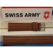 Swiss Army Watch Band Field 20mm Brown Leather Logo buckle. Stitched and Padded