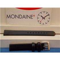 Mondaine Swiss Railways Watch Band FE3112. 12mm Wide  Black Leather Strap ladies