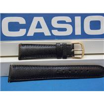 Casio Watch Band AB-20 Leather Black Strap 19mm Padded Double Outline Stitched