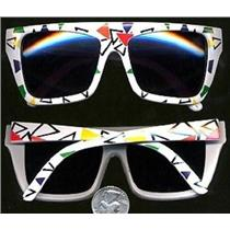 80's White Party Colorful Triangle Mod Sunglasses Party3