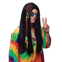 Long Black Hippie Wig with Braids & Beads