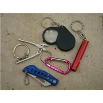 Gold Miners Special!! Lot of 5 Key Chains-Loupe-Wrench-Carabineer-Knife-Whistle