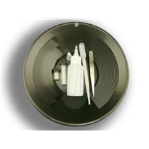 "6 Pc Gold Panning Clean up Kit-Snuffer-Sniffer-Tweezers-2 Vials-Black 10"" Pan"