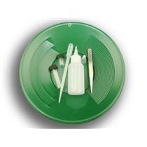 "6 Pc Gold Panning Clean up Kit-Snuffer-Sniffer-Tweezers-2 Vials-Green 10"" Pan"