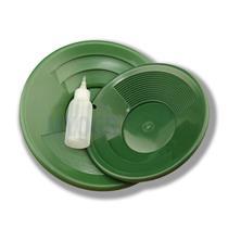 "2 Green Double Riffle Gold Pans 1-8"" & 1-10"" w/Bottle Snuffer-Panning Kit-Mining"