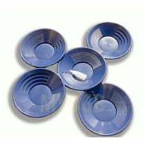 "Lot of 5-14"" Blue Gold Pans + Bottle Snuffer - Mining-Panning Kit-Prospecting"