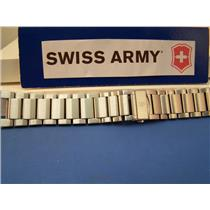 Swiss Army Watch Band Convoy Bracelet Steel w/Push Button Butterfly Clasp & Pins