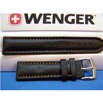 Wenger Watch Band 70843 Black 21mm Padded Outline Red Stitched Strap