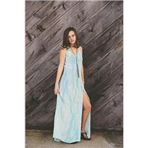 XS Gypsy 05 Addie Racerback 100% Silk Maxi Dress Blue/Purple Tie Dye Front Slit