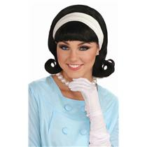 50's Black Flip Wig with Headband and Bangs