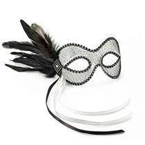 Black and Silver Lace Feather Venetian Eye Mask