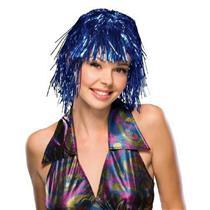 Blue Metallic Tinsel Wig
