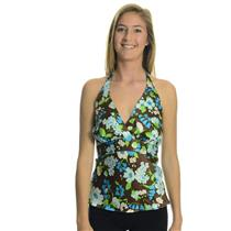 S NWT Authentic TROO Brand Silk Charmeuse Empire Halter Top Blue/Brown Floral