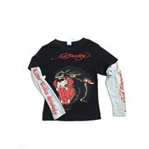 6 NWT Ed Hardy Kids Boy Black Panther Graphic Long Sleeve Layered T Shirt