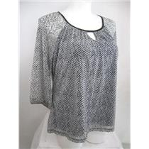 Apt 9 Size 0X Black 3/4 Raglan Sleeve Herringbone Peasant Style Top with Lining
