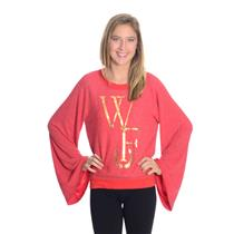 S NEW RARE Wildfox Couture WF Foil Logo Raglan JUMPER Red Gold Flare Sleeves WOW