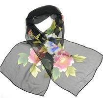 NWT Keke Hawaiian Inspired Sheer Black Pink Blue Lotus Floral Silk Scarf 14 x 63