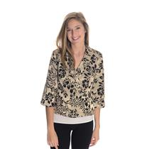PS NWT Alex Evenings Champagne/Gold Jacquard Floral Crossover 3/4 Evening Jacket